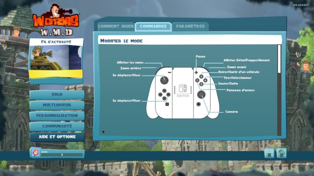 Test Worms WMD - commandes du jeu