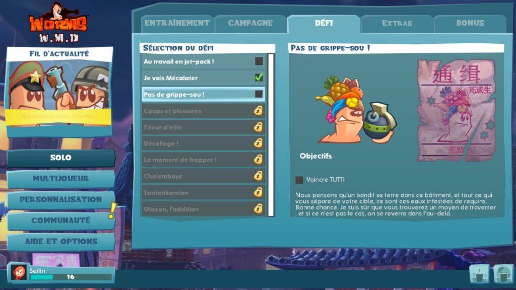 Test Worms WMD - liste des défis