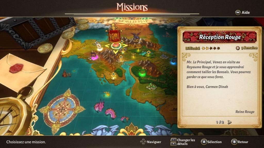 Valthirian Arc Hero School Story Switch - carte des missions et quêtes