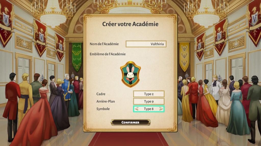 Valthirian Arc Hero School Story Switch - choix du nom et du blason