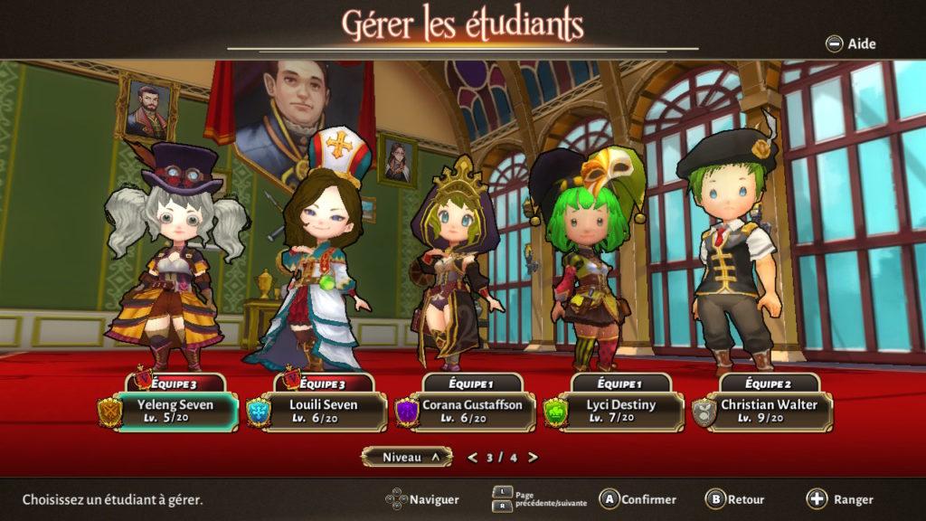 Valthirian Arc Hero School Story Switch - gestion des équipes