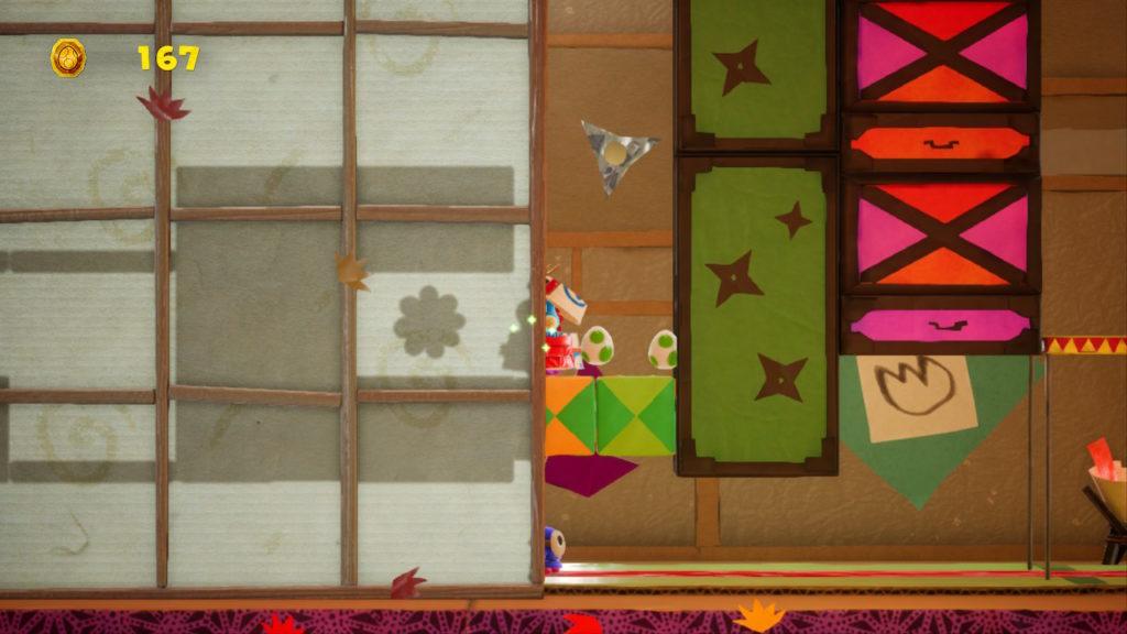 Yoshi Crafted World Switch - fleur cachée niveau avec panneaux