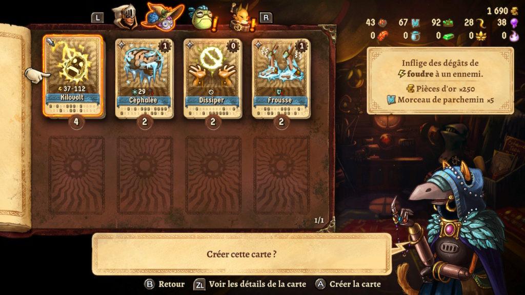 SteamWorld Quest - boutique de cartes